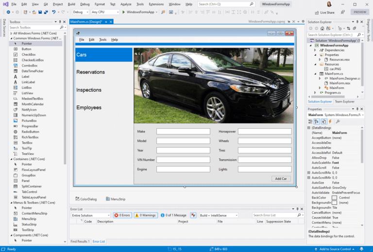 Visual Studio中的.NET Core Windows窗体设计器