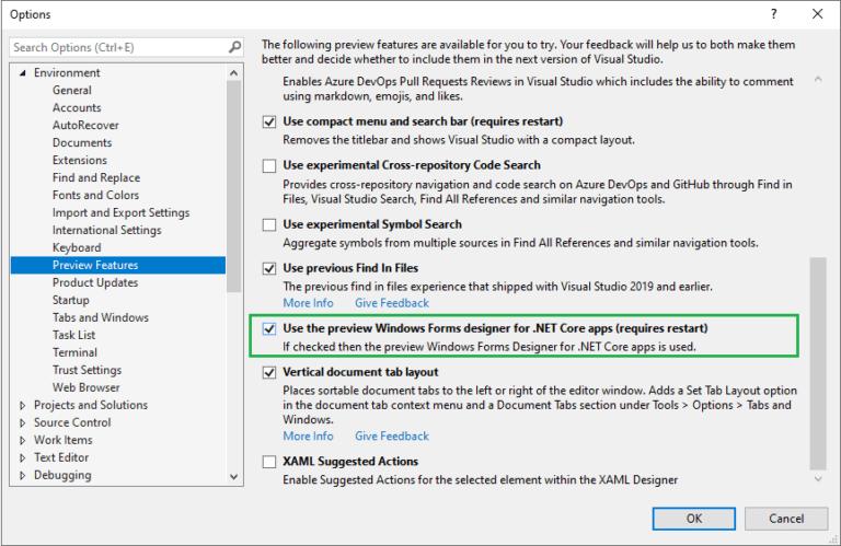 在Visual Studio设置中启用.NET Core Windows窗体设计器