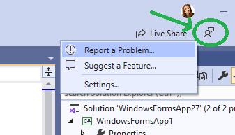 直接从Visual Studio提供反馈